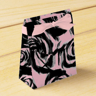 Abstract Pink & Black Roses Motif on a Favour Box