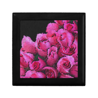 Abstract Pink Black Roses Small Square Gift Box