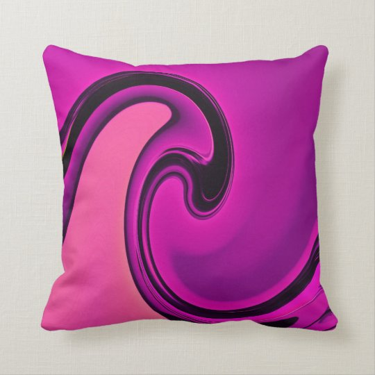Abstract Pink Black Swirls Waves Throw Pillow