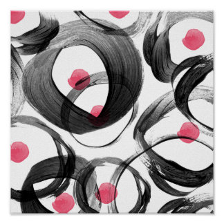Abstract pink black watercolor circles dots poster