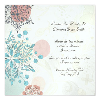 Abstract Pink Blue Gray Floral Post Wedding Card