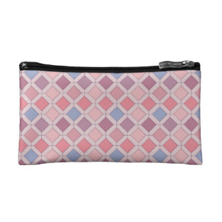 Abstract pink blue purple argyle pattern cosmetic bags