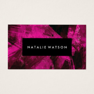 Abstract Pink Dark Paint Modern Elegant Business Card