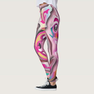 Abstract Pink Fitness Leggings