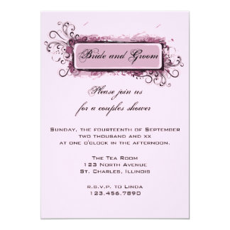 Abstract Pink Floral Couples Wedding Shower 13 Cm X 18 Cm Invitation Card