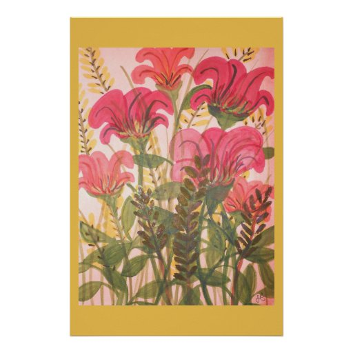 Abstract pink floral watercolor poster