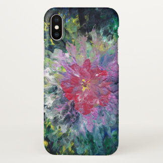 Abstract Pink Flower amongst a green background iPhone X Case