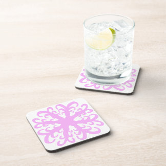 Abstract Pink Flower Coaster Set