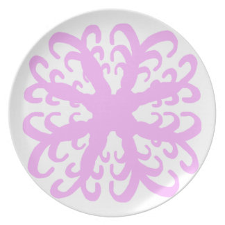 Abstract Pink Flower Plate