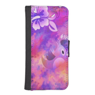 Abstract Pink Flowers and Bird iPhone SE/5/5s Wallet Case