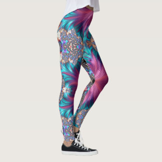 Abstract Pink Gold Grey Aqua Running Jogging Leggings