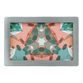 Abstract Pink, Green and Blue Kaleidoscope Pattern Belt Buckle