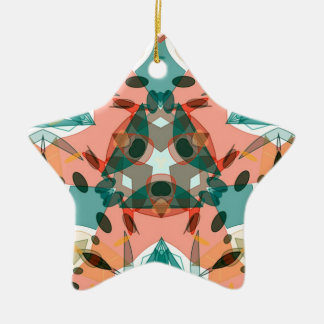 Abstract Pink, Green and Blue Kaleidoscope Pattern Ceramic Star Decoration