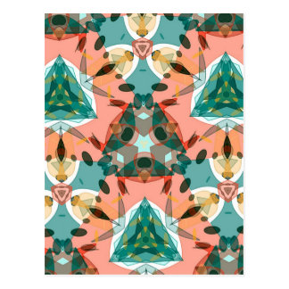 Abstract Pink, Green and Blue Kaleidoscope Pattern Postcard
