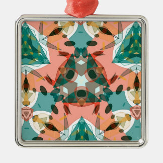 Abstract Pink, Green and Blue Kaleidoscope Pattern Silver-Colored Square Decoration