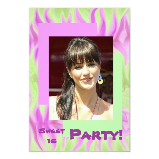 Abstract Pink Green Sweet Sixteen Party Invitation