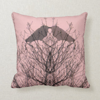 Abstract pink grey vein modern crow bird pillow