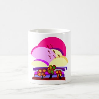 Abstract Pink Landscape Mugs
