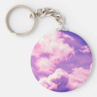 Abstract Pink Nebula Clouds Pattern Key Chain