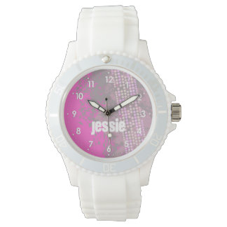 Abstract pink numbered name girls sports watch