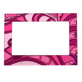 Abstract Pink Panel Painting Magnetic Picture Frame