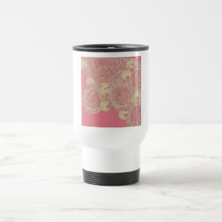 abstract pink pattern floral color personalize art stainless steel travel mug