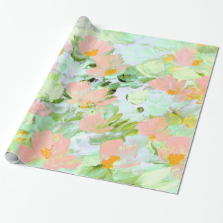 Abstract Pink Poppies Wrapping Paper