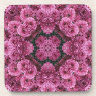 Abstract Pink Puffy Flowers Beverage Coaster