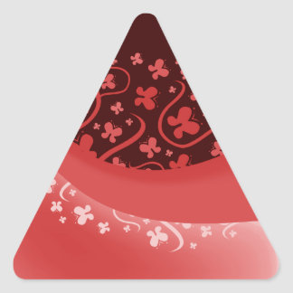 Abstract Pink, Red and White Butterflies Triangle Sticker