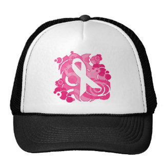 Abstract Pink Ribbon Products Mesh Hat