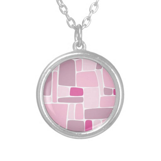 Abstract Pink Squares Pendant