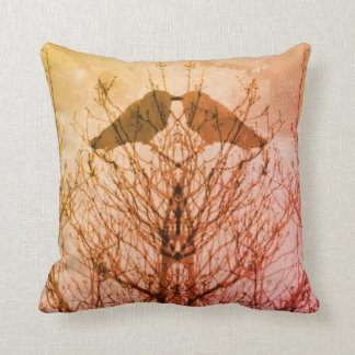 Abstract pink sunset vein modern crow bird pillow