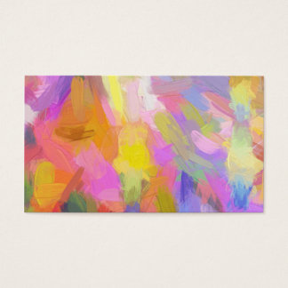 Abstract pink teal orange paint brushstrokes business card
