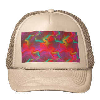 Abstract Pink Teal Red Fractal Pattern Hat