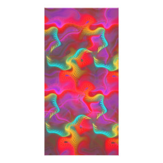 Abstract Pink Teal Red Fractal Pattern Picture Card