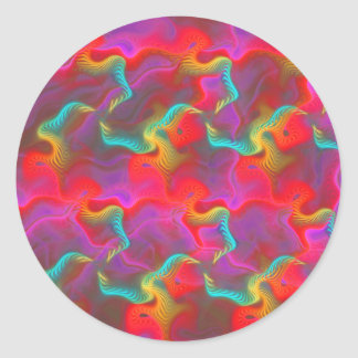 Abstract Pink Teal Red Fractal Pattern Round Sticker