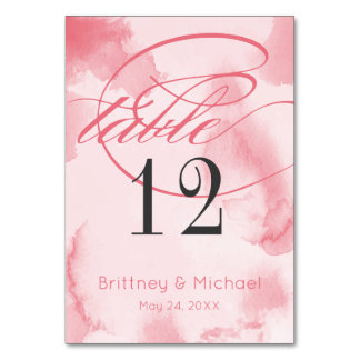 Abstract Pink Watercolor | Table Cards