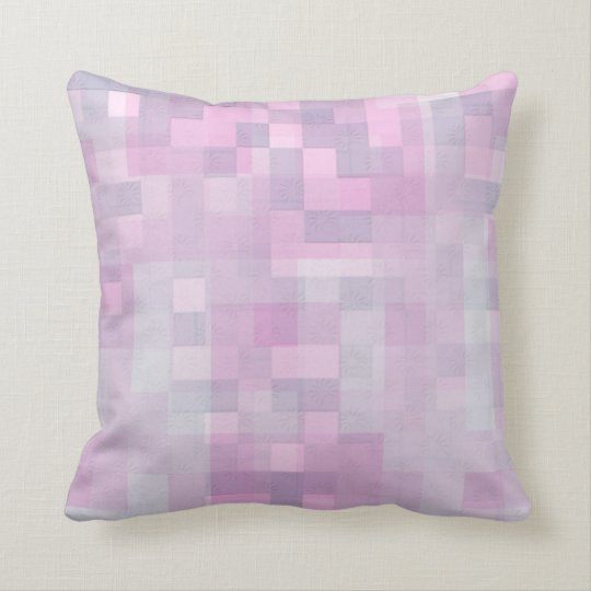 Abstract Pink White Grey Mosaic Pattern Cushion