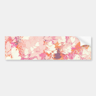 Abstract Pink White Watercolors Hearts Pattern Bumper Sticker