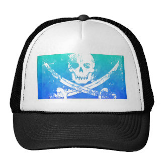 Abstract Pirate Skull and Swords Cap
