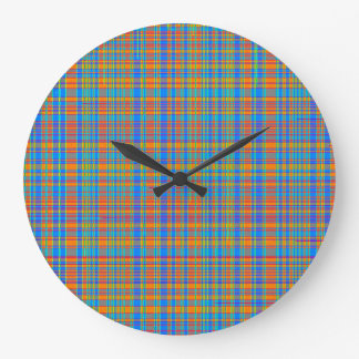 Abstract Plaid Pattern Background Large Clock