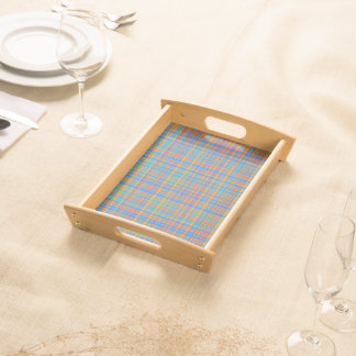 Abstract Plaid Pattern Background Serving Tray