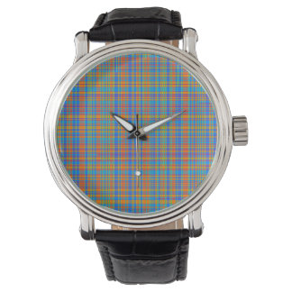 Abstract Plaid Pattern Background Watch