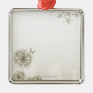 Abstract Plants and Butterflies Christmas Ornaments