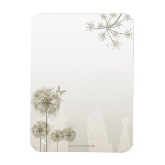 Abstract Plants and Butterflies Rectangular Photo Magnet