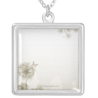 Abstract Plants and Butterflies Silver Plated Necklace