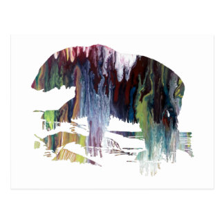 Abstract polar bear silhouette postcard