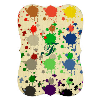 Abstract,polka dot, multi color, drip paint art card