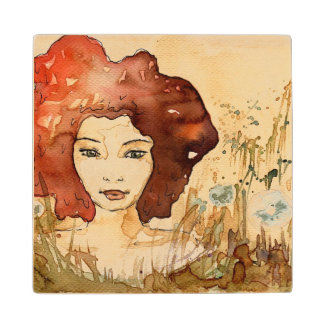 Abstract portrait 3 maple wood coaster
