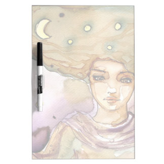 Abstract portrait and pretty woman dry erase whiteboard